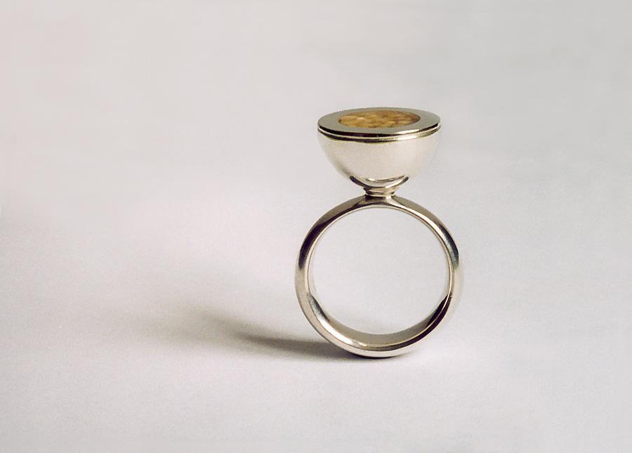 Ring Silber, Hirse, Epoxyharz