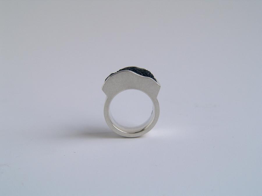 Ring Silber, Moldavit